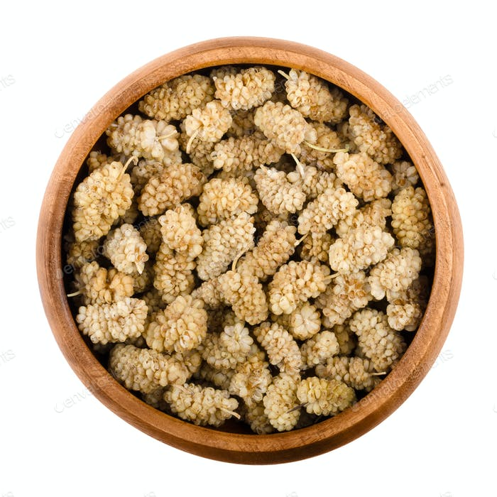 White mulberries in a bowl over white