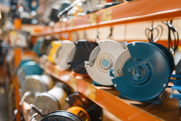 Hardware store assortment, emery machines