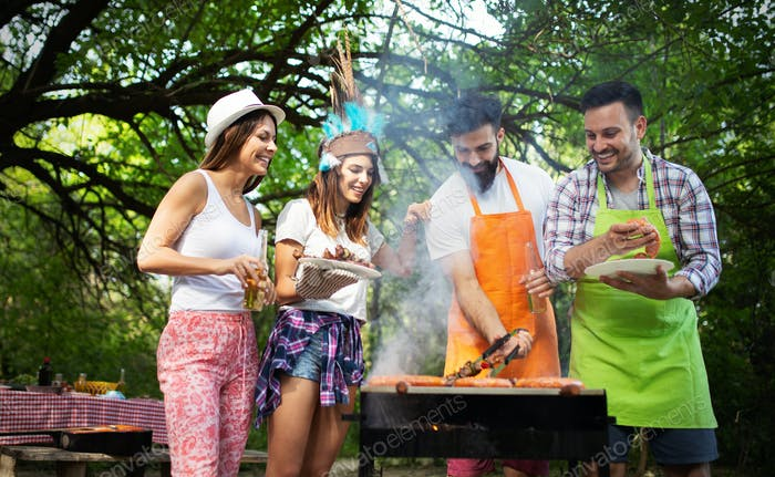 Group of friends having a barbecue party in nature