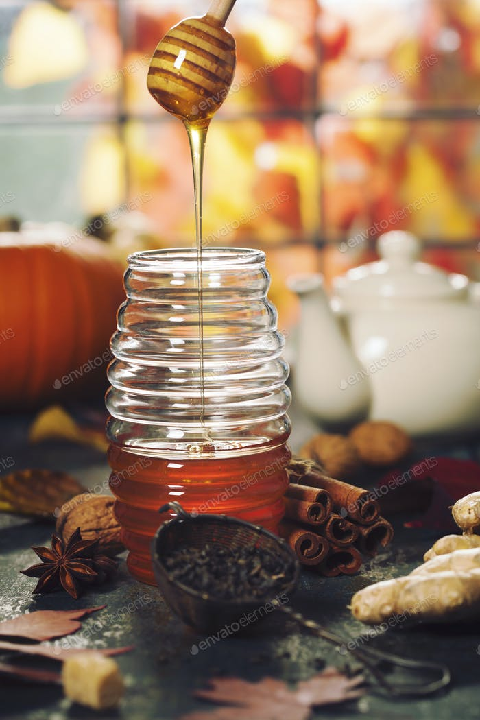 Autumn composition. Jar of Honey, pumpkins and spices on wooden window