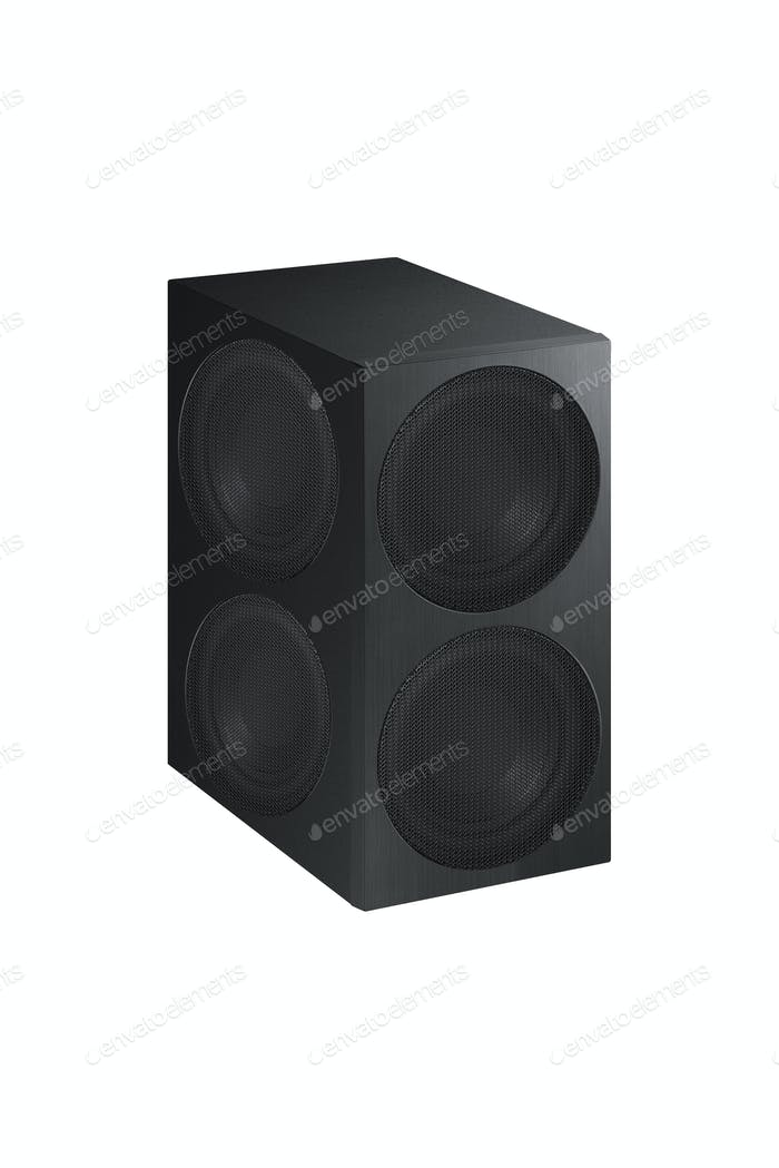 Audio speaker on white background