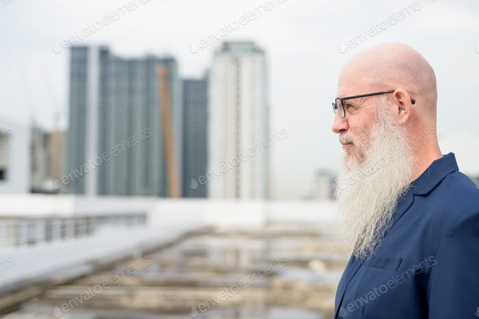 Profile view of mature bald bearded businessman with eyeglasses against view of the city
