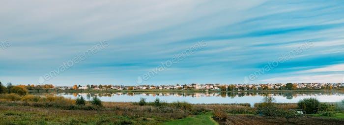 Glubokoye, Vitebsk Region, Belarus. Panoramic View Basilian Chur