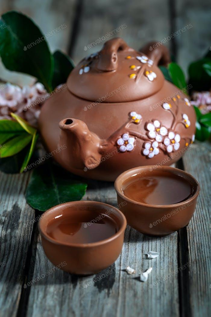 Tea and spring blossom