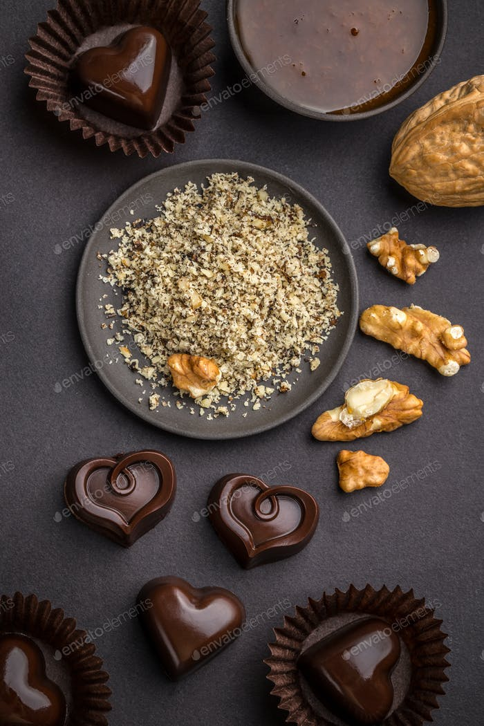 Heart shaped chocolate praline