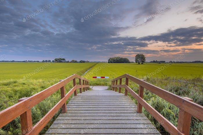 Wooden bridge in agricultural landscape