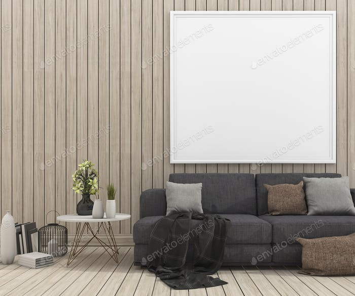 3d rendering nice sofa with mock up picture frame in wood living room