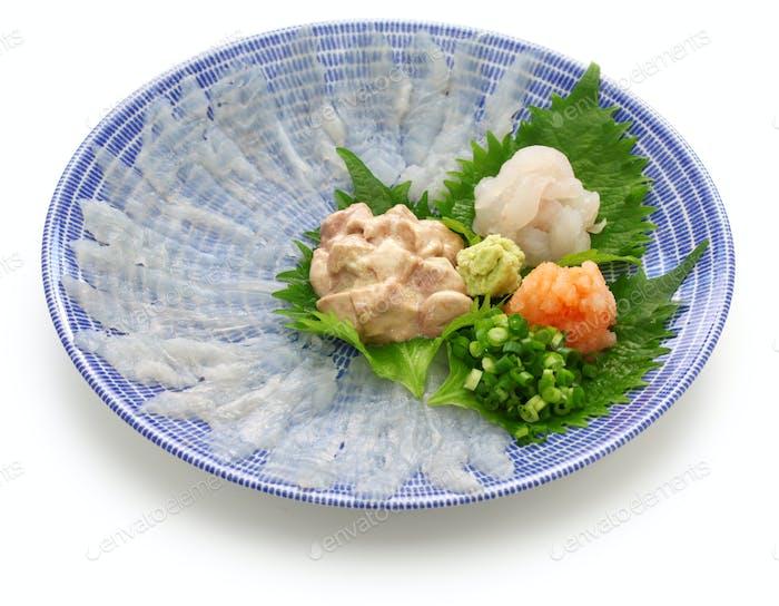 sashimi of kawahagi( thread-sail filefish ), Japanese cuisine