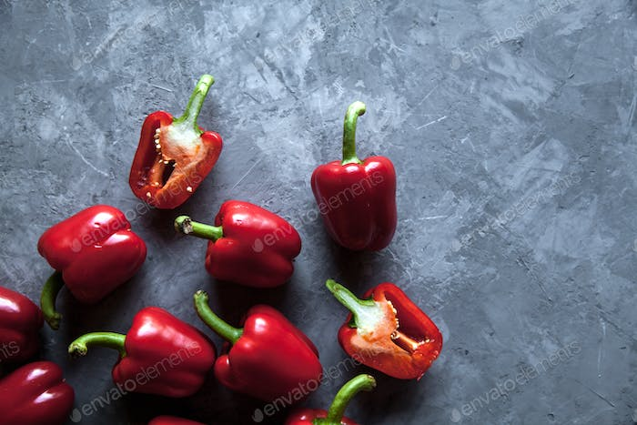 Fresh pepper on grey background