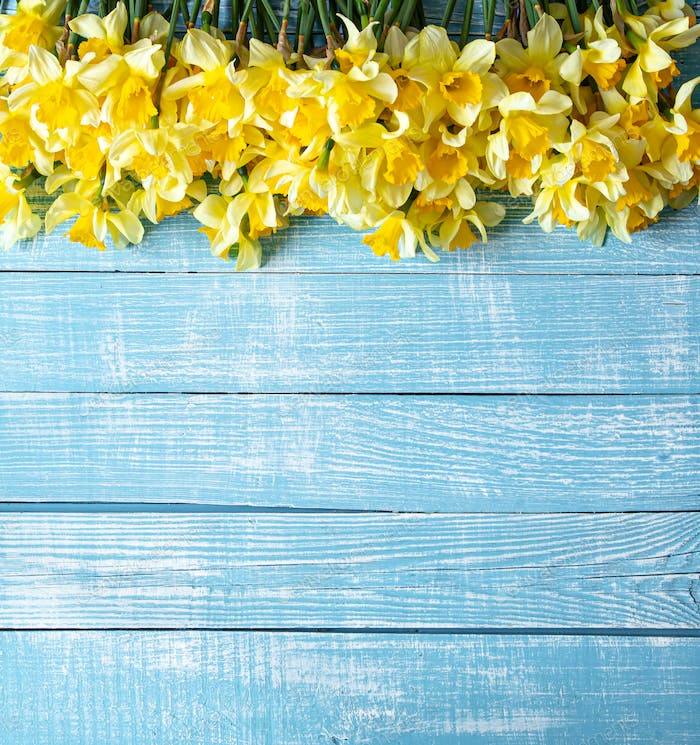 Beautiful spring flowers and blooms on a wooden background.