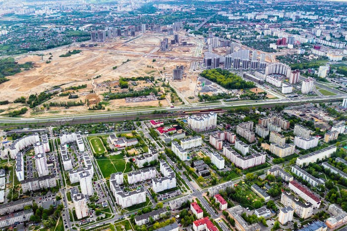 top view of the construction site and the city.The City Of Minsk.Start of new construction of a