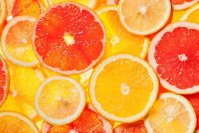 Colorful citrus fruit slices