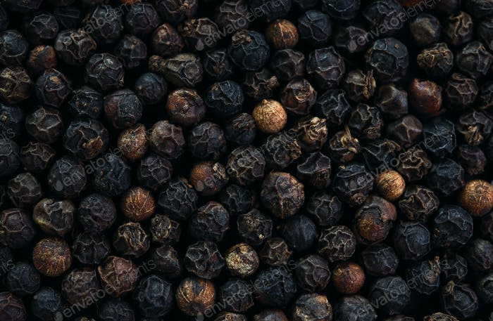 Close-up view of the black peppercorn