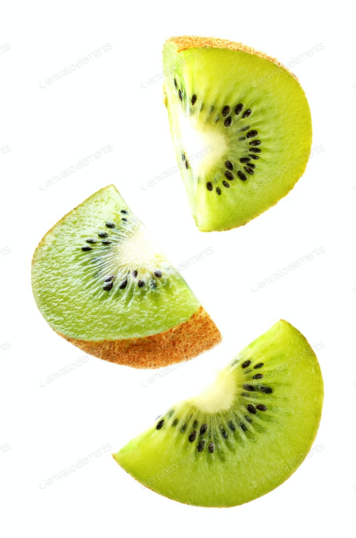 Flying Kiwi slices isolated