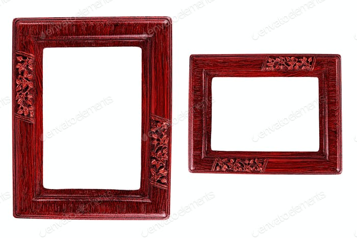 Two red photo frames