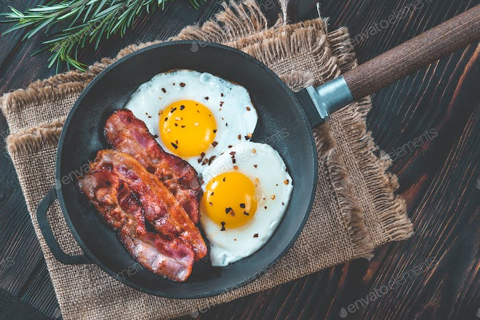 Fried eggs with bacon rashers
