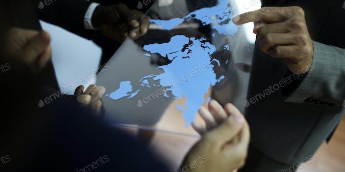 Concepto Negocios Trabajo de planificación Negocios global de Equipo de negocios