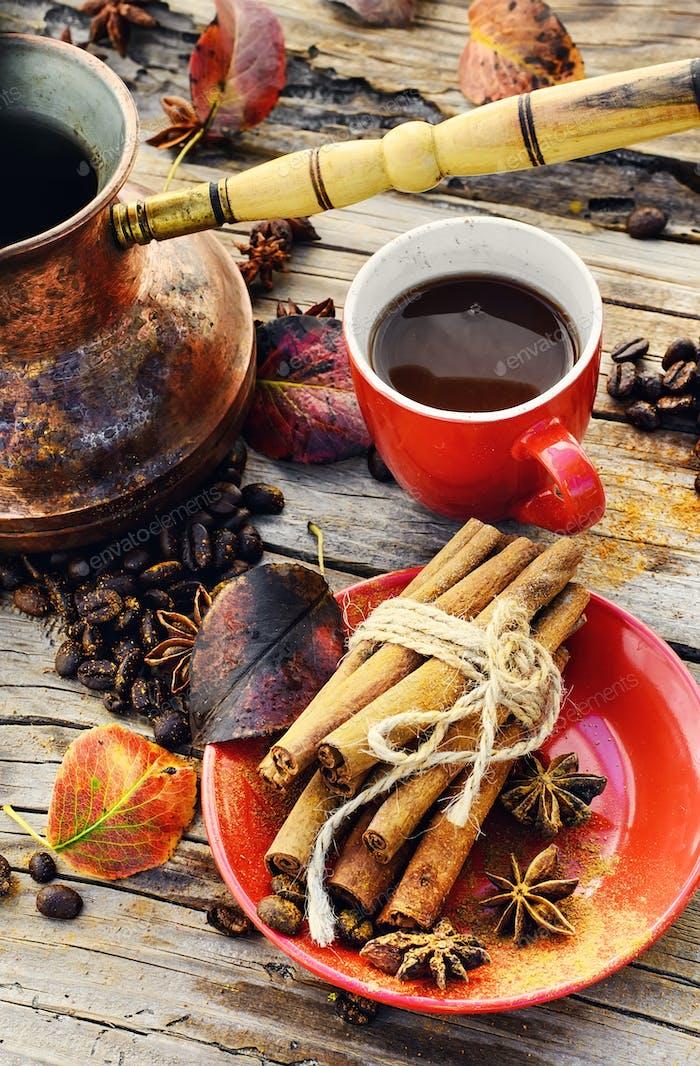 Coffee in the autumn season