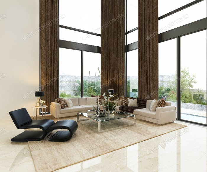 3d rendering luxury living room lobby lounge with high window lobby