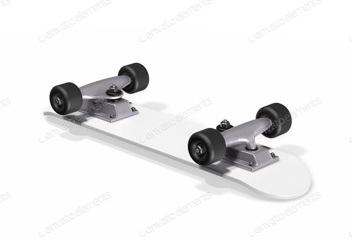 Inverted skateboard on a white background. 3d rendering