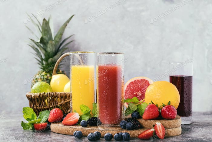 Orange, blackcurrant and strawberry juice
