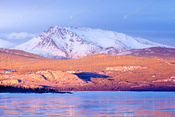 Snowy Mt Laurier frozen Lake Laberge Yukon Canada