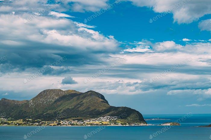 Godoya, Norway. View Of Godoy Skyline Cityscape In Summer Sunny Day. One Of From Alesund Islands