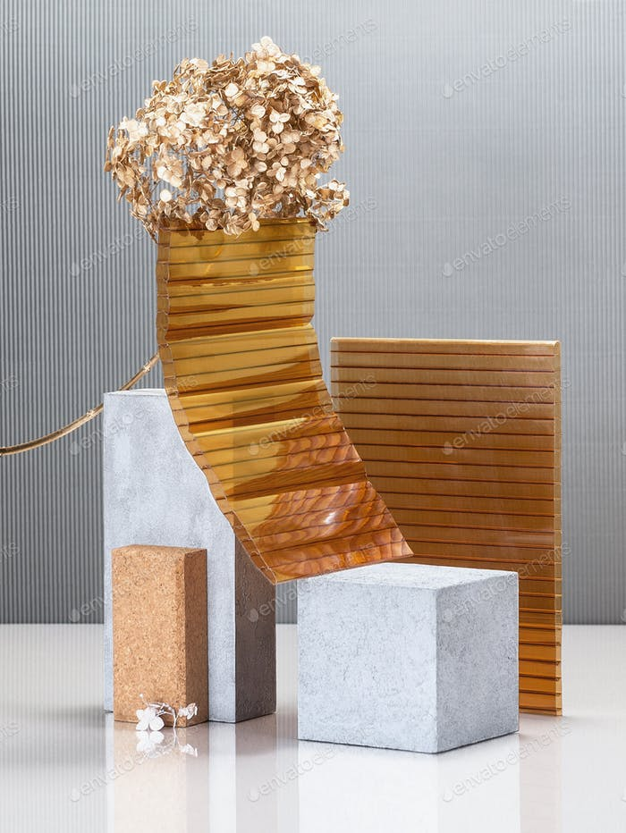 Modern abstract still life using concrete blocks, building const