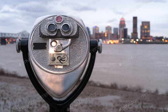 Pay to View Public Magnifying View Binoculars Riverside Park