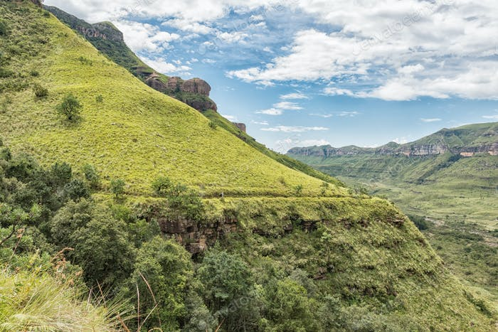 Hiker on the Tugela Gorge hiking trail