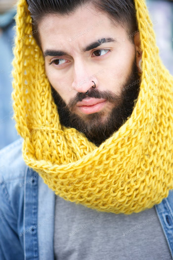 Urban man with beard and scarf