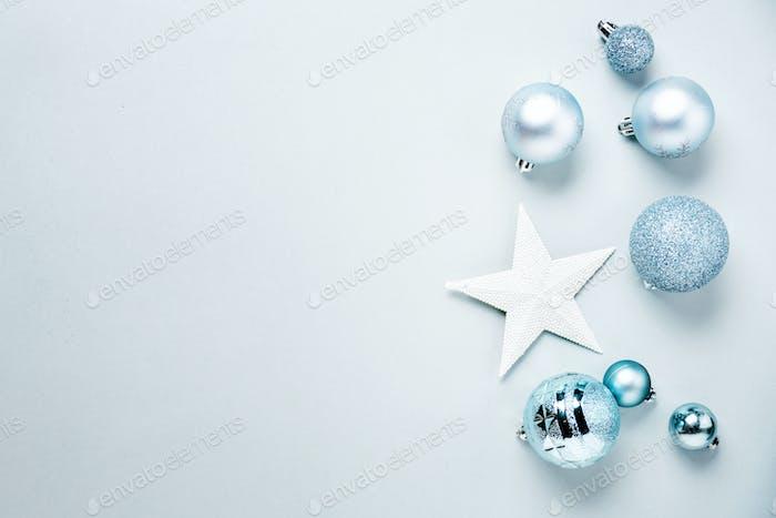 Blue Christmas Flat Lay Background