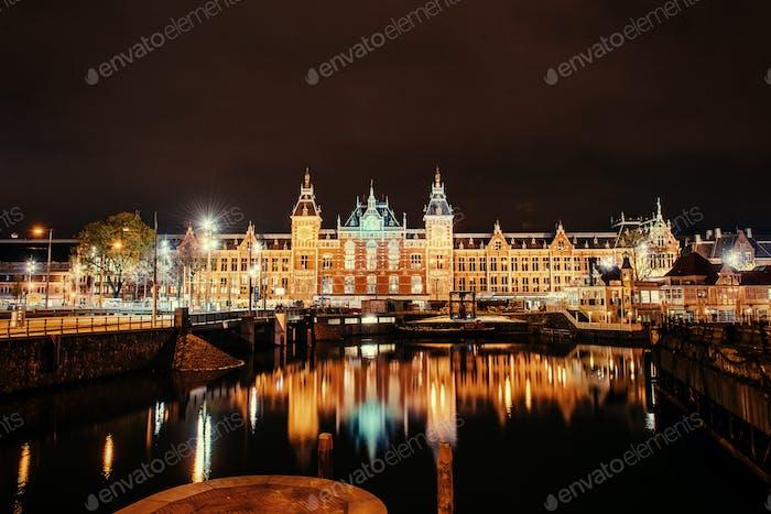Beautiful night in Amsterdam.  illumination of buildings an