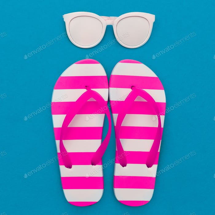 Beach season is open. Marine style. Flip-flops, stripes, sunglas