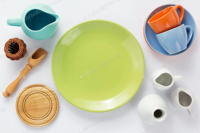 kitchenware set at white background