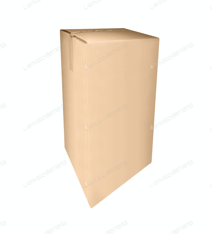Closed cardboard box taped up and isolated on a white background