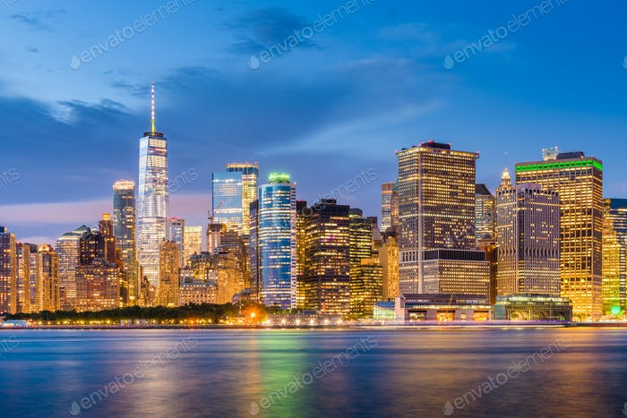 Lower Manhattan Skyline from New York Bay