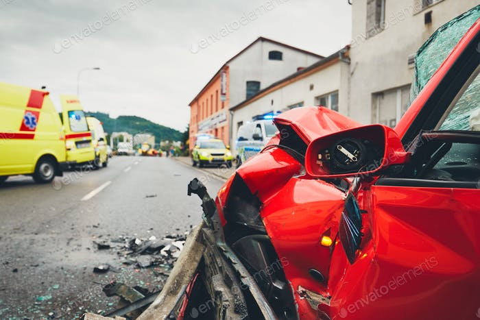Ambulances for a traffic accident