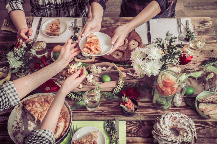 Home Celebration of friends or family at the festive table