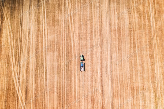 Lonely tractor in a wheat field