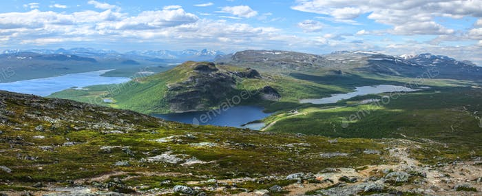 Dramatic panorama scenery of Lake Kilpisjarvi and Malla fells