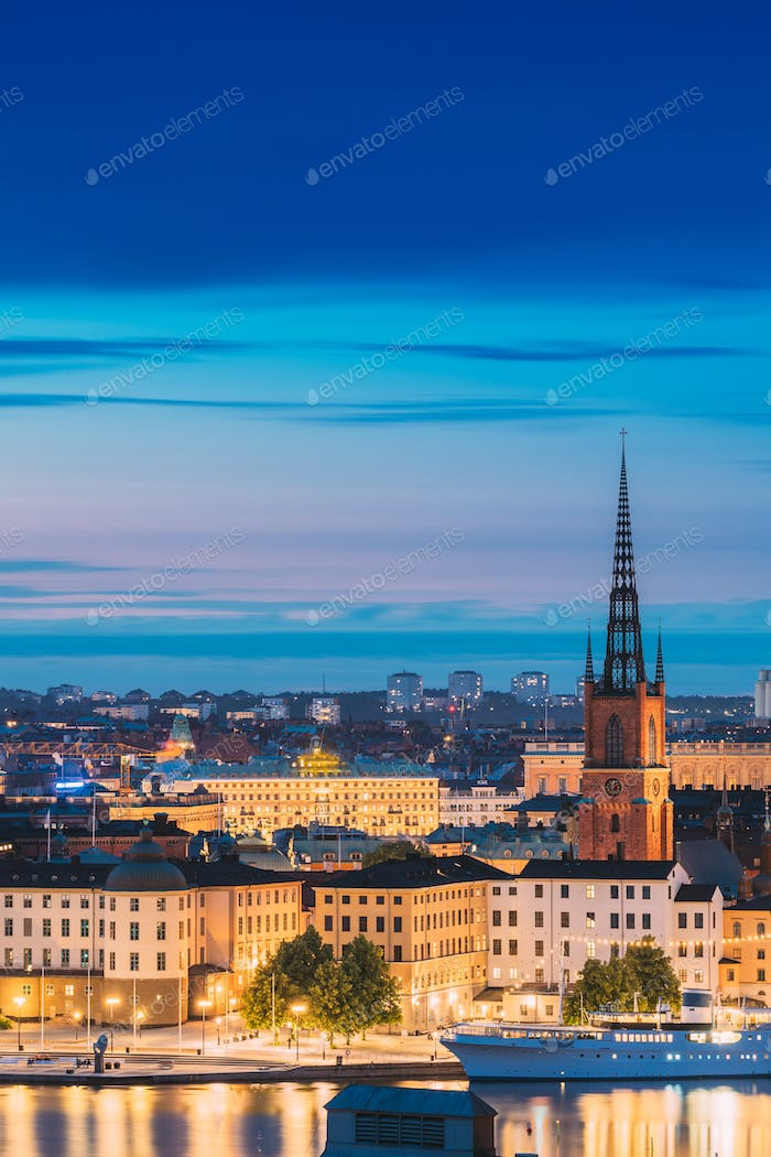 Stockholm, Sweden. Scenic View Of Stockholm Skyline At Summer Evening. Famous Popular Destination