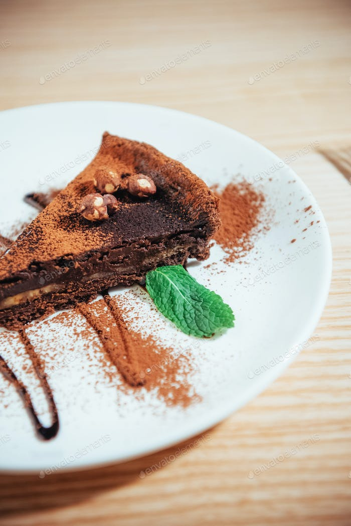 Delicious chocolate cake with hazelnuts