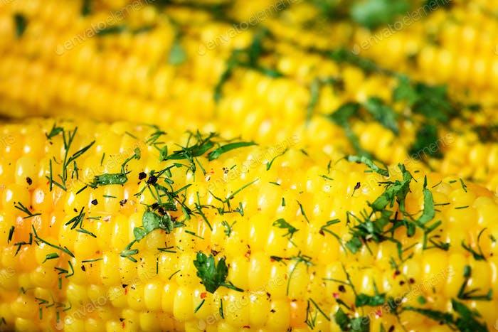 Gekochter Mais mit Gewürzen auf grauem hellen Betonuntergrund. Kopierbereich, Makro