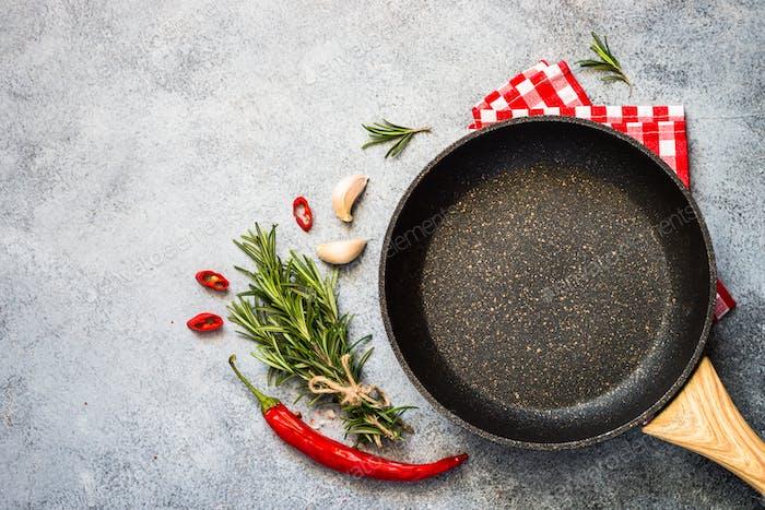 Essen Kochen Hintergrund auf Küchentisch Draufsicht