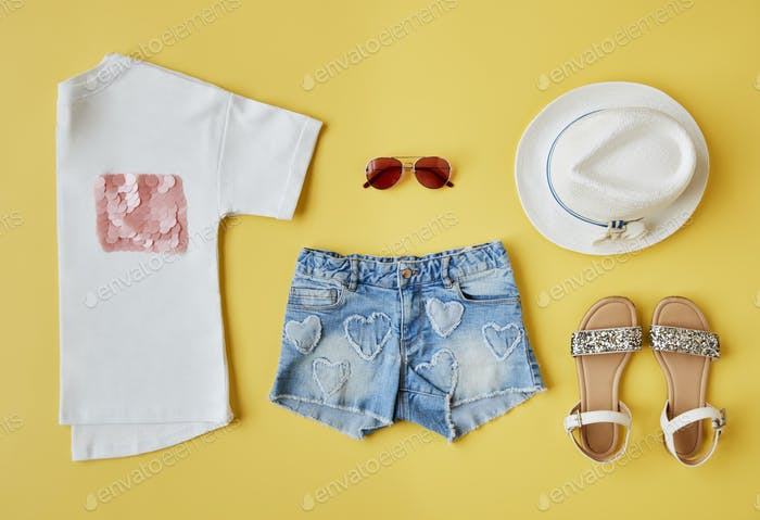 Flat Lay Shot Of Female Summer Clothing
