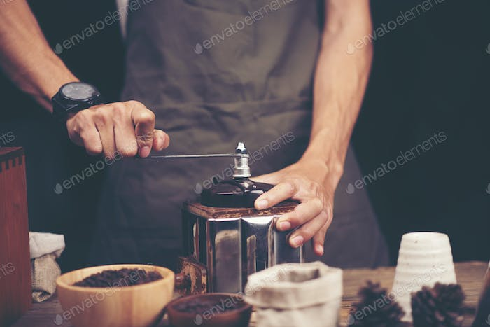 professional barista making coffee at cafes in the morning, hot drink espresso in cup, beverage brew