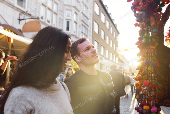 Couple looking at retail display