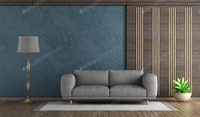 Elegant blue living room withh gray sofa
