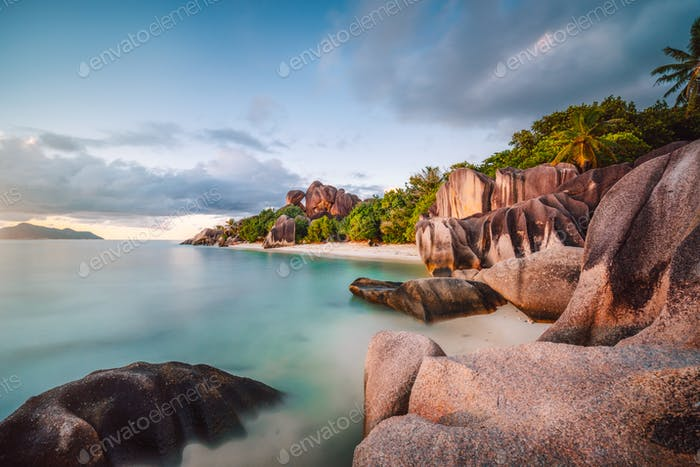 Sunset at La Digue Anse famous beach Source d'Argent, Seychelles